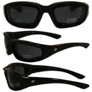 Oriole Foam Padded Sunglasses - Smoke Lens for Skydiving   Motorcycling   Dry Eye   Cycling @ Specs4sports